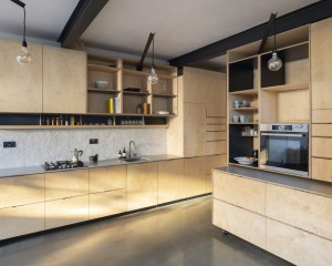 Plywood kitchen design self build london